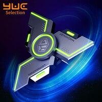 YUC-Spinner luminoso de Metal para adultos, juguete antiestrés EDC, Spinner de mano ultralargo de alta velocidad que brilla en la oscuridad