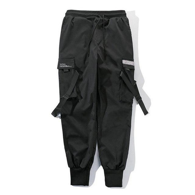Ribbons Harem Joggers Men Cargo Pants Streetwear 2021 Hip Hop Casual Pockets Cotton Track Pants Male Harajuku Fashion Trousers 3