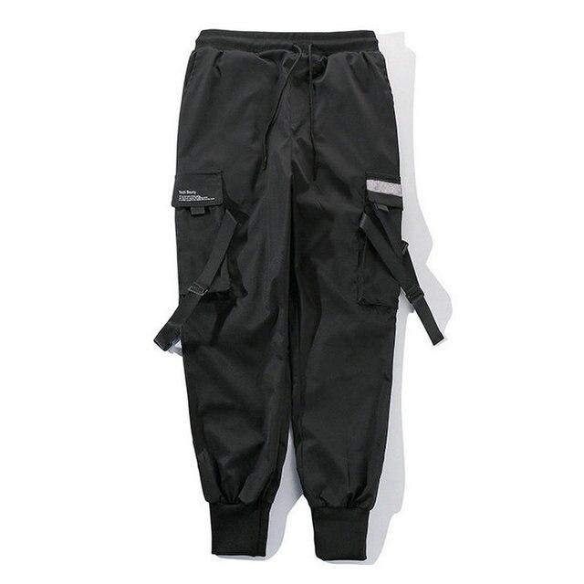 2020 Hip Hop Boy Multi-pocket Elastic Waist Harem Pants Men Streetwear Punk Casual Trousers Joggers Male Ankle-length Mens Pants 1