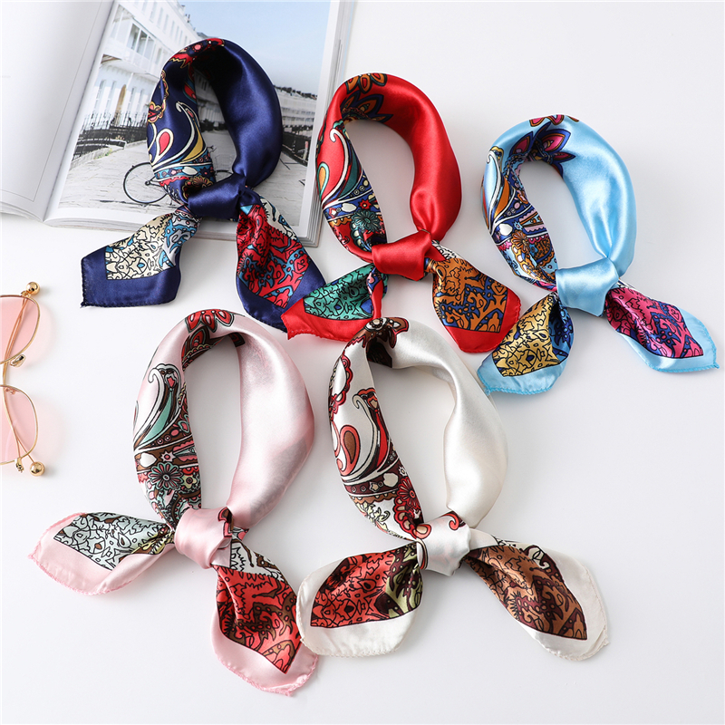 Silk Square Hair Scarf Head Wraps For Women Neck Bandana Accrssories Print Hijab Scarf Luxury Brand Headkerchief New Summer 2020