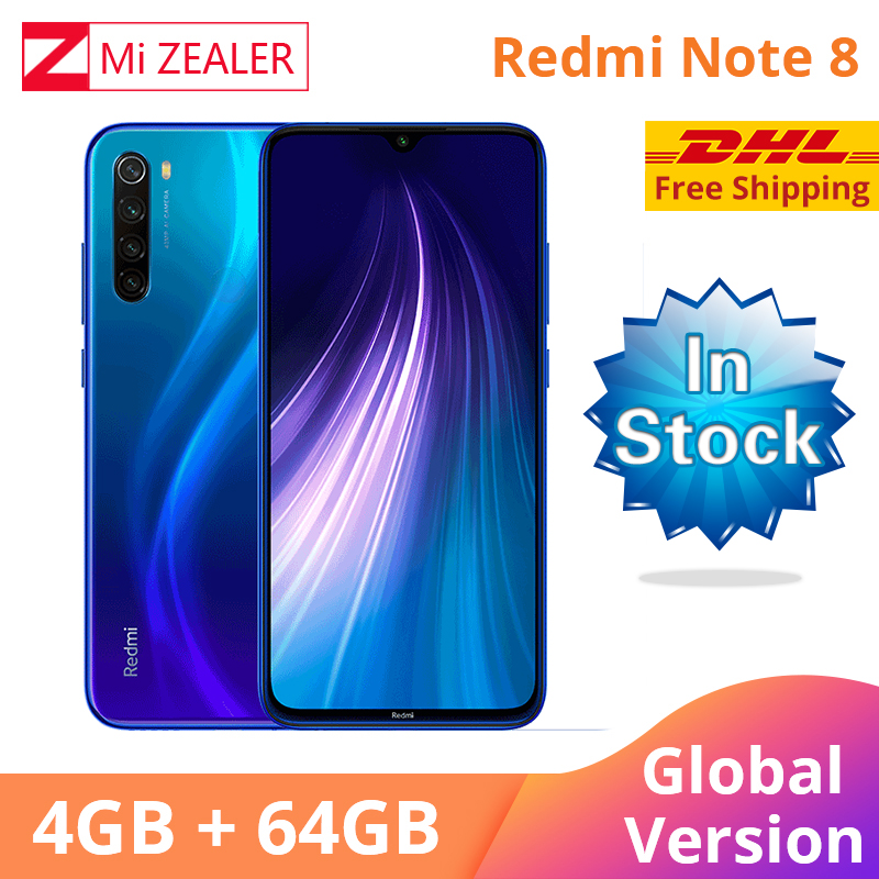 In Stock DHL! Global Version Xiaomi Redmi Note 8 4GB RAM 64GB ROM Smartphone Snapdragon 665 48MP 6.3