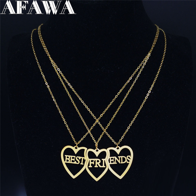 3PCS Stainless Steel Best Friends Pendant Necklace Women Gold Color Necklace Chain Jewelry colares feminino N769S01