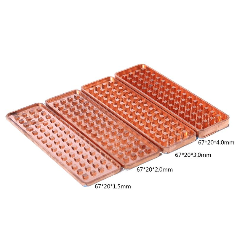 Durable Copper NVME NGFF M.2 Heat Sink 2280 SSD Metal Sheet Thermal Conductivity Silicone Wafer Cooling Fan M2 Heatsink