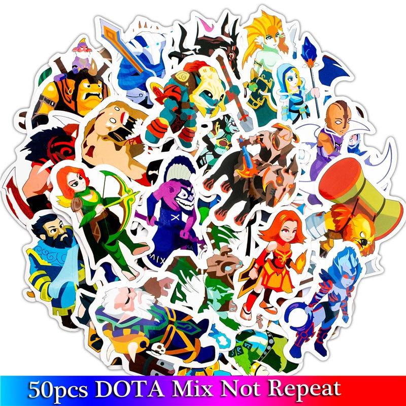 50pcs/Lot Funny Cartoon Dota Game Stickers For Moto & Suitcase Cool Laptop Graffiti Stickers Skateboard Kids Stickers