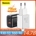Baseus PD 20W USB Typ C Ladegerät Für iPhone 12 Pro Max Xiaomi Quick Charge 3,0 QC USB-C Schnelle lade USBC Reise Wand Ladegerät