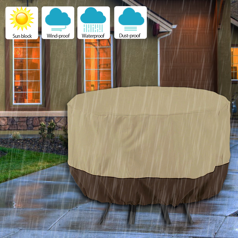 Round Patio Table Cover Outdoor Garden Chair Sofa Waterproof Dust Cover Sun Protection Oxford Cloth Foldable Drawstring Table