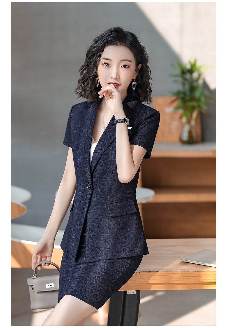 Female Elegant Formal Office Work Wear Summer Fashion Ladies Navy Blue Plaid Blazer Women Jackets Short Sleeve Clothes OL Styles