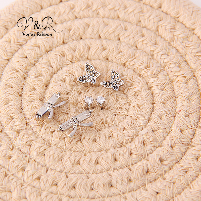 3 pairs a set, cute stud earring imitation rhodium plated, 1pair CZ stone stud, 1 pair pave stone butterfly   stud earring, 1 pa (4)
