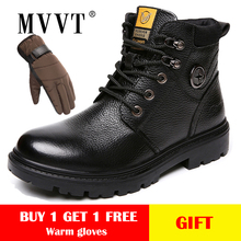 MVVT Genuine Leather Boots Men Winter Waterproof Work Safety Snow Books For Military Man Shoes