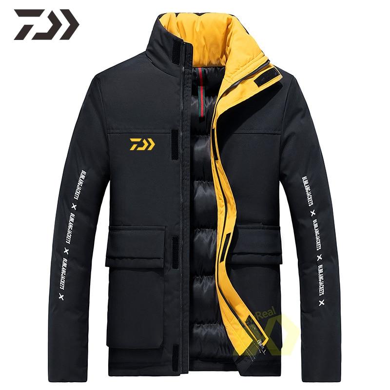 Fishing Jacket Men Winter Daiwa Fishing Clothing Thermal Big Pocket Zipper Fishing Shirt Sports Casual Coat Men Fishing Clothes