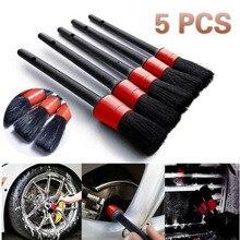 Plastic round brush hairdressing details brush gap scrub car cleaning brush car brush 5 sets