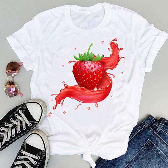 Women 2021 Strawberry Fruit Casual 90s Cartoon Short Sleeve Graphic Summer Fashion Print Female Clothes Tops Tees Tshirt T-Shirt 1