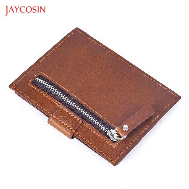 Bolsa de embreagem masculina carteira de couro casual multi-posição do cartão de crédito titular do cartão de crédito vintage sólido bolsa de moedas