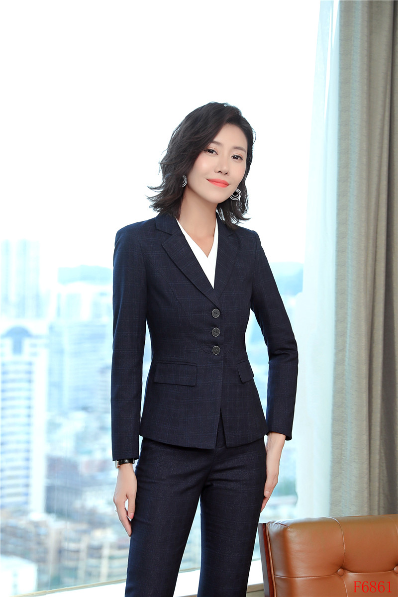 New Female Elegant Formal Office Work Wear OL High Quality Women Blazers and Jackets Blue Plaid Ladies Clothes Jackets and Coats