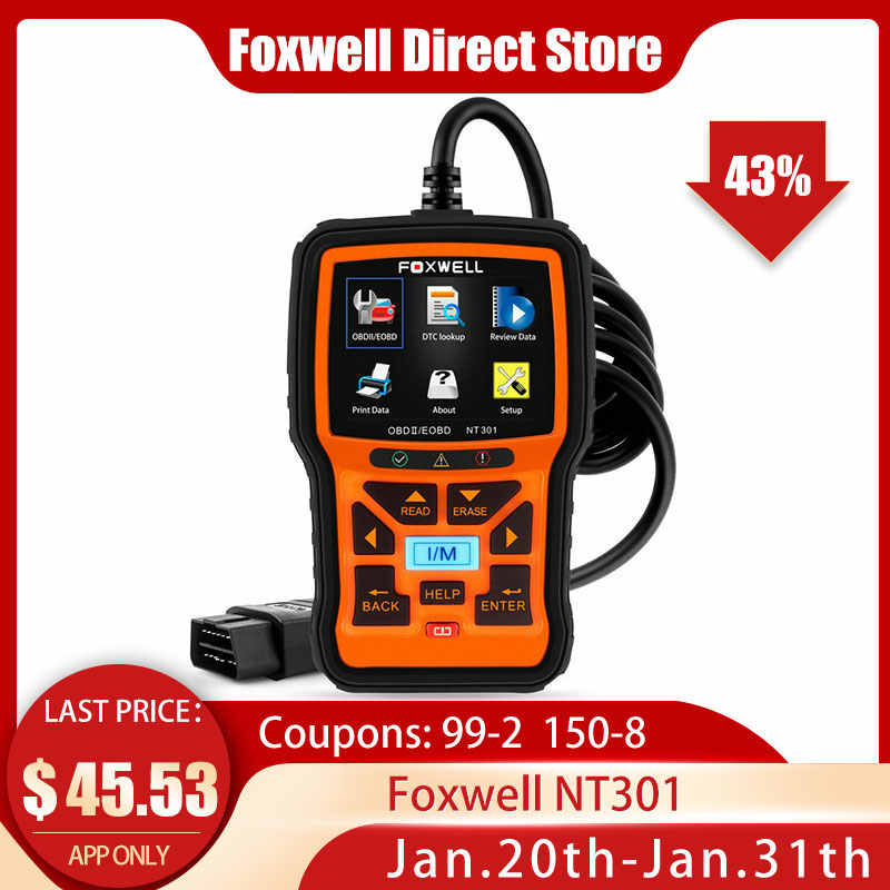 Foxwell NT301 OBD OBD2 Scanner Engine Code Reader Car Diagnostic Tool Multi languages Universal ODB 2 ODB2 Automotive Scanner