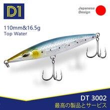 D1 asturie topwater lápis iscas stickbaits flutuante isca de pesca 110mm 16.5g longa fundição wobblers para pesca seabass dt3002