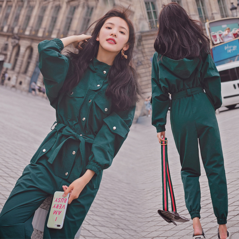 Women Long Sleeve Korean Slim High Waist Hooded Jumpsuit Harem Pants Female Streetwear Hip Hop Cargo Trouser Overalls