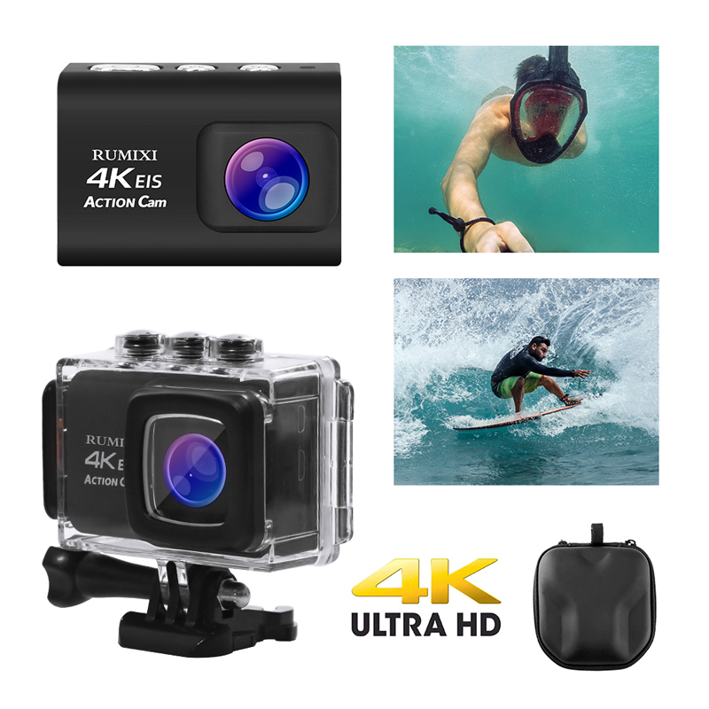 """Full HD 4K 30FPS WIFI Action Camera with EIS Function Remote Controller 2.0"""" Screen Mini Helmet Waterproof Sports DV Cameras"""