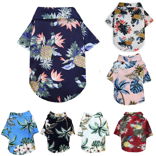 Summer Pet Printed Clothes For Dogs Floral Beach Shirt Jackets Dog Coat Puppy Costume Cat Spring Clothing Pets Outfits 1