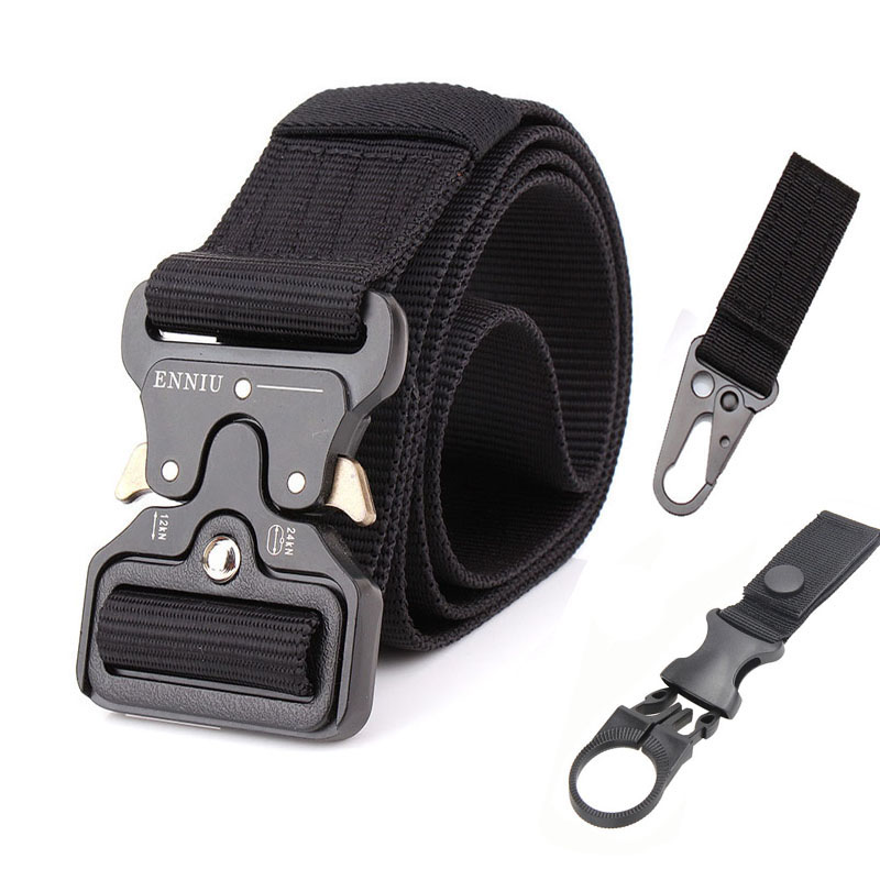 Nylon Tactical Belt Army Belt Men Outdoor Training Belts Black High Quality Easy Unlock Metal Military Buckle Belt()