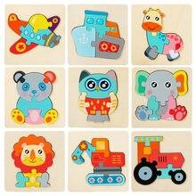3d quebra-cabeça brinquedos de madeira para crianças dos desenhos animados animal veículo de madeira jigsaw crianças do bebê aprendizagem precoce puzzles brinquedos de madeira