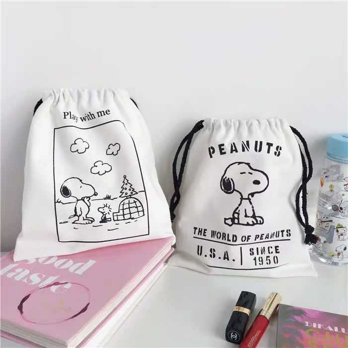 Peanuts Snoopy Kawaii Canvas Bag Shoulders Drawstring Bundle Pockets Creative Shopping Student Backpack Bag Cotton Pouch Jute