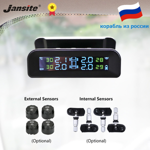 Jansite TPMS Car Tire Pressure Alarm Monitor System Real-time Display Attached to glass wireless Solar power tpms with 4 sensors(China)