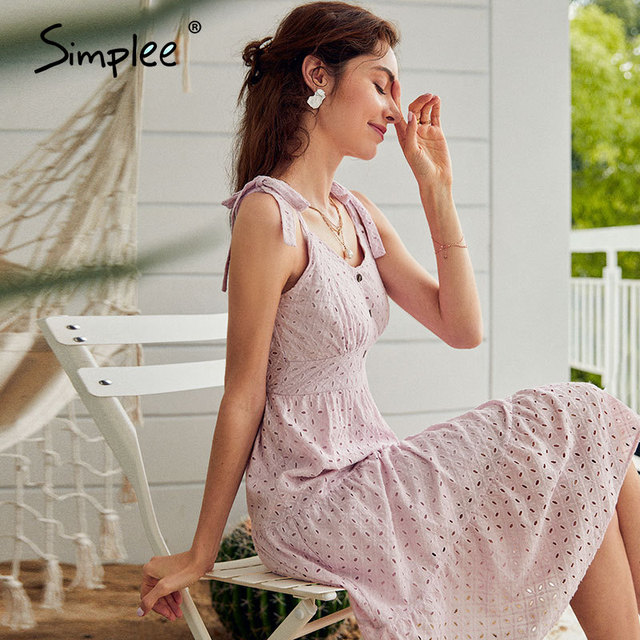 Simplee Casual white women summer beach dress Bow-knot spaghetti embroidery female midi dress backless holiday dress vestidos 4
