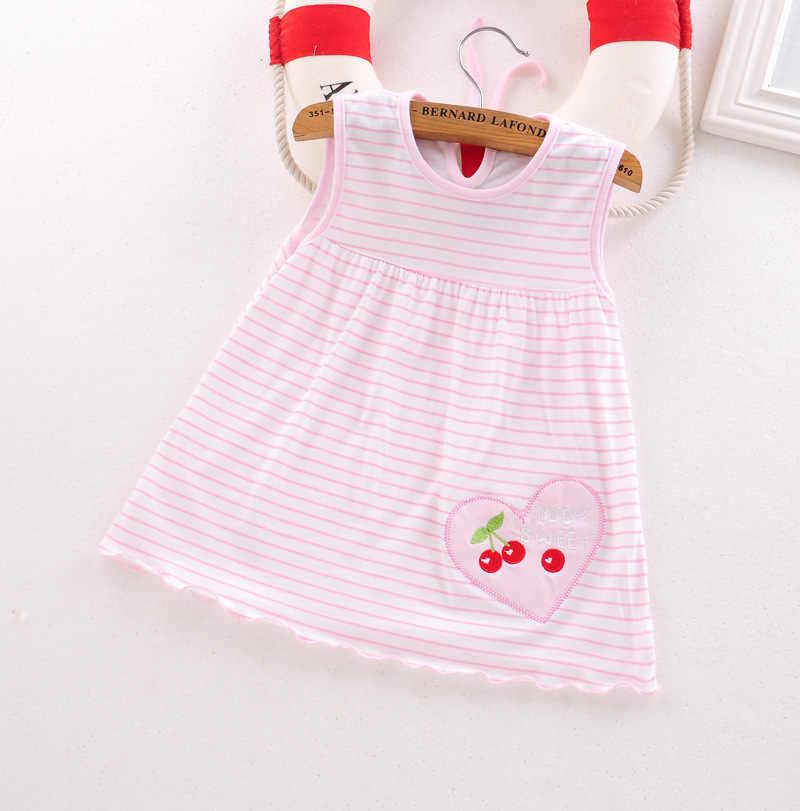 2019 קיץ בנות שמלת כותנה רב-סגנון שרוולים תינוק שמלות פרחי תות חילזון פרפר Apple בגדי ילדים