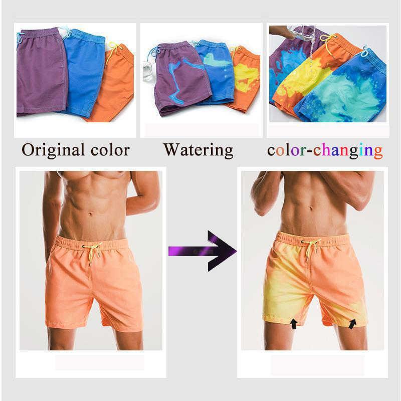 2020 zmiana koloru kąpielówki mężczyźni stroje kąpielowe spodenki do pływania mężczyźni spodenki plażowe figi bokserki Sunga przebarwienia strój kąpielowy mężczyzn
