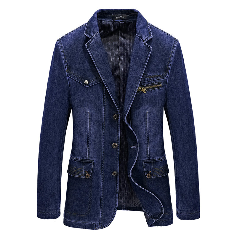 Multi Pocket Denim Jacket Men Spring Blazer Suits Jacket Mens Business Leisure Suits Cowboy Westerner Male Jeans Coat Size L~4XL