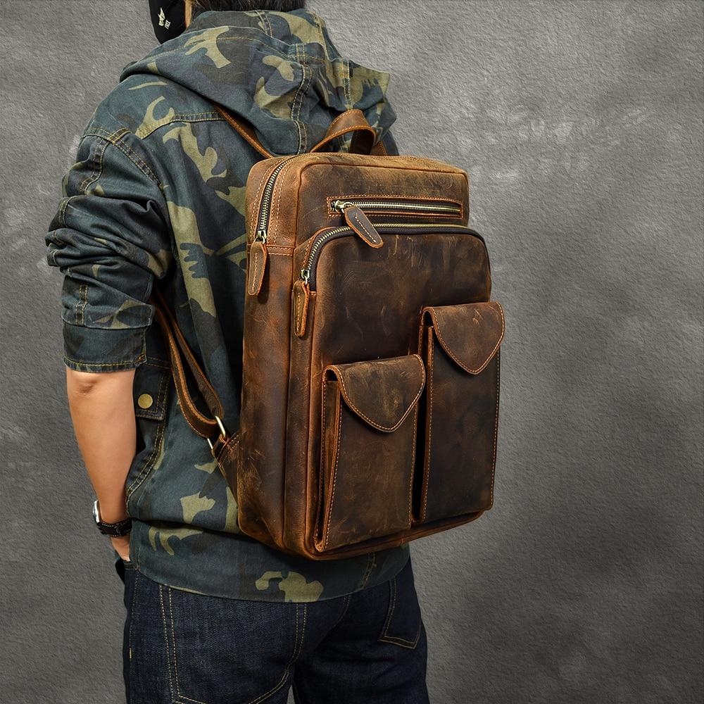 Durável couro de cavalo louco mochila masculina grande capacidade portátil saco de viagem mochilas retro primeira camada de couro sacos de escola - 2