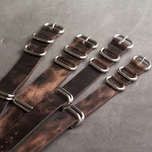 Onthelevel Leather Nato Strap 20mm 22mm 24mm Zulu Vintage First Layer Cow Watch Band With Five Rings Buckle #E