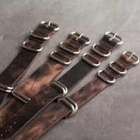 Skórzany pasek w barwach nato 20mm 22mm 24mm pasek Zulu Vintage pierwsza warstwa skóry bydlęcej zegarek z pięcioma pierścieniami klamra # E