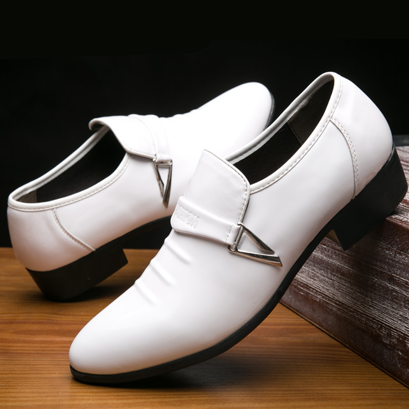 38~48 White Dress Loafers Mens Formal Wedding Suit Leather Shoes Slip On Pointed Toe Flat Loafer Italian British Business Shoes