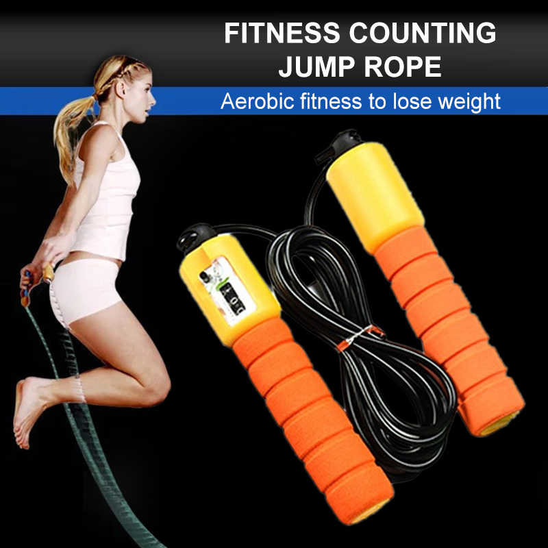 Sponge Grip Jump Rope with Electronic Speed Counting fitness Adjustable Skipping