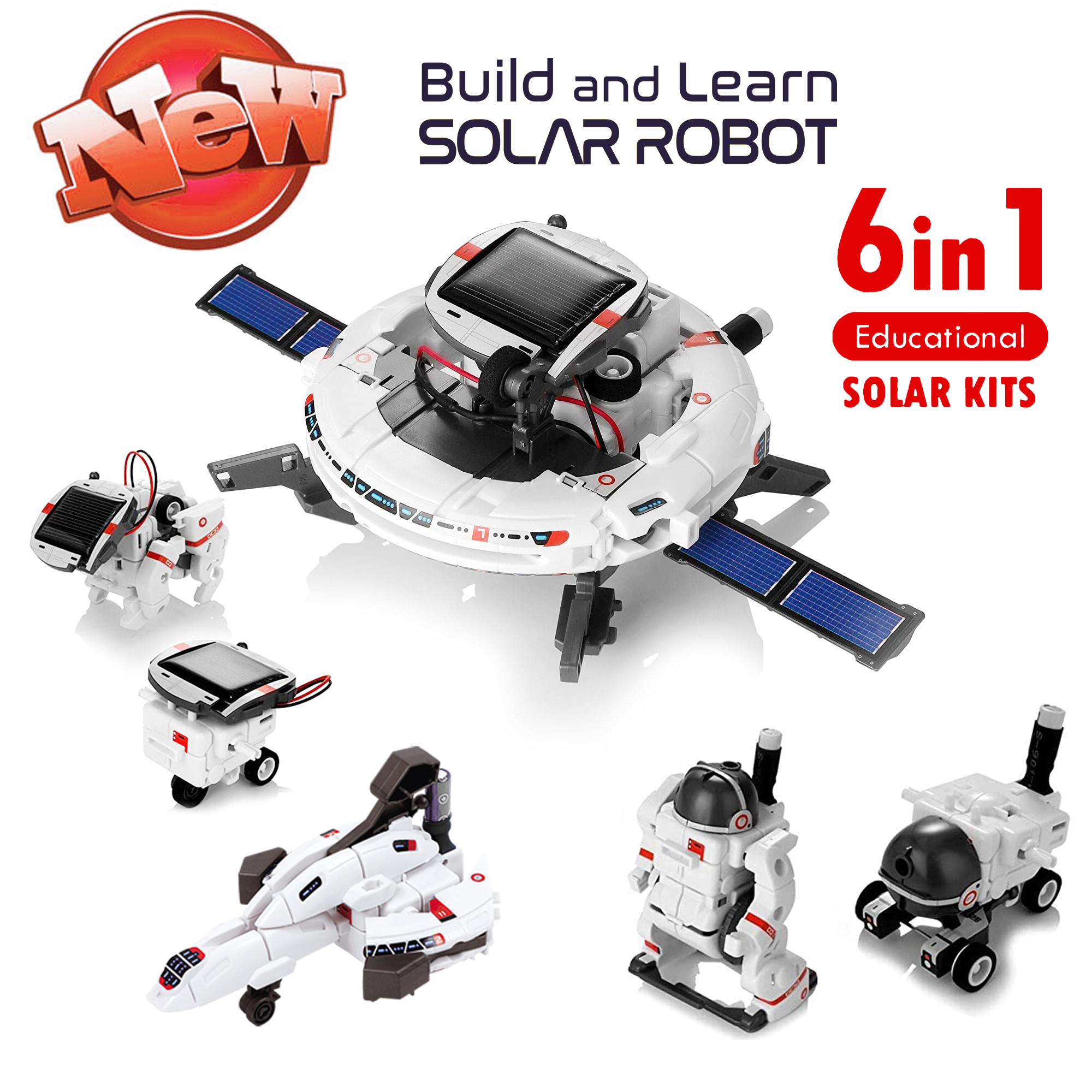 Solar robot Toys, 6 in 1 STEM Educational Solar Space Building Toys, DIY Science Solar robot diy  Kit for Kids Aged