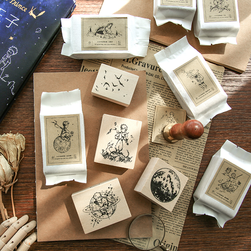 1pc Cartoon Cute Little Prince B612 Wooden Rubber Stamps Crafts Scrapbooking DIY Seal Bullet Journal Kawaii Stationery