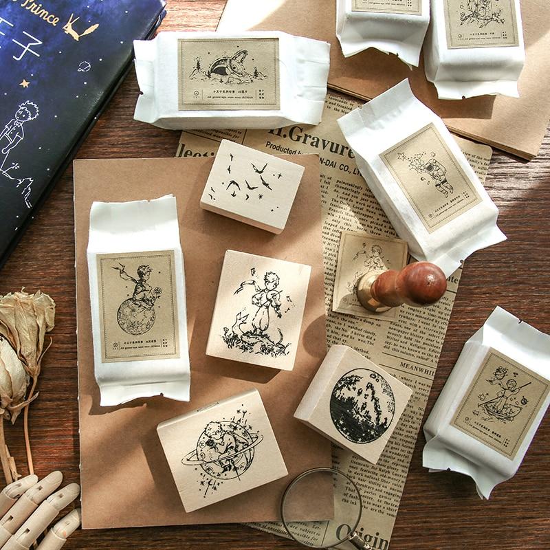 1pc Cartoon Cute Little Prince B612 Wooden Rubber Stamps Crafts Scrapbooking DIY Seal Bullet Journal Kawaii Stationery