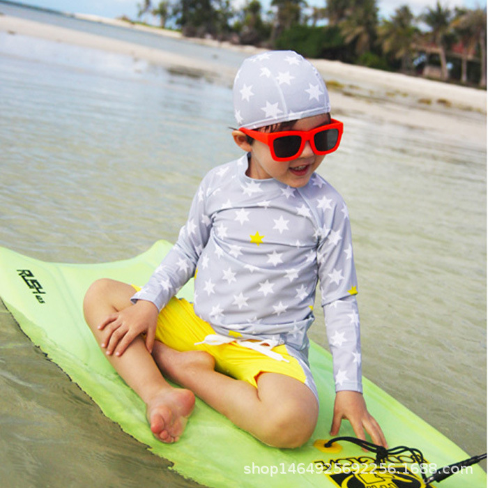 South Korea BOY'S Swimsuit Baby Big Boy Long Sleeve Shorts Sun-resistant Quick-Dry Diving Suit Students Large Size Hot Springs S