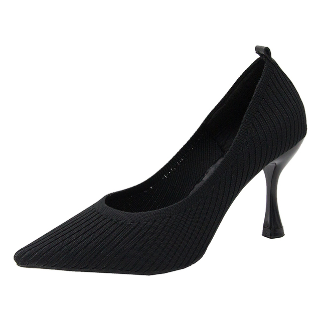 Fashion Black High Heels 2019 New Shallow Mouth Women's Shoes Professional Work Shoes Pointed Toe Stiletto Knitted Single Shoes 4