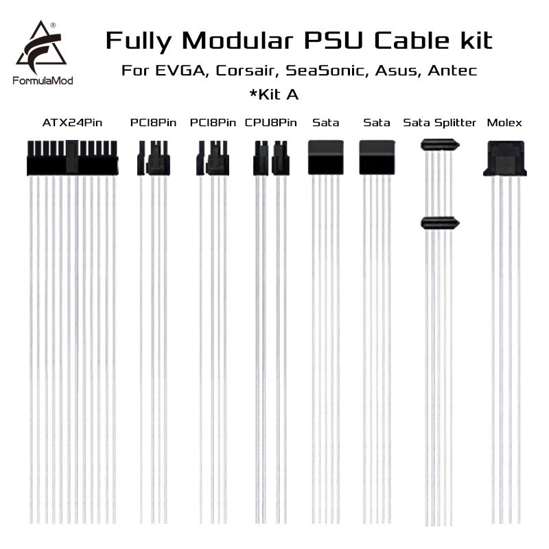 FormulaMod Fm-DYXZ Fully Modular PSU Cable Kit 18AWG Silver Plated Kit For EVGA Corsair SeaSonic Asus Antec Modular PSU