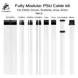 FormulaMod Fm-DYXZ, Fully Modular PSU Cable Kit, 18AWG Silver Plated, Kit For EVGA, Corsair, SeaSonic, Asus, Antec Modular PSU