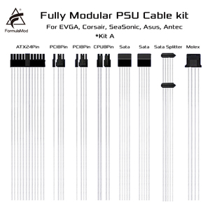 FormulaMod Fm-DYXZ, Fully Modular PSU Cable Kit, 18AWG Silver Plated, Kit For EVGA, Corsair, SeaSonic, Asus, Antec Modular PSU()