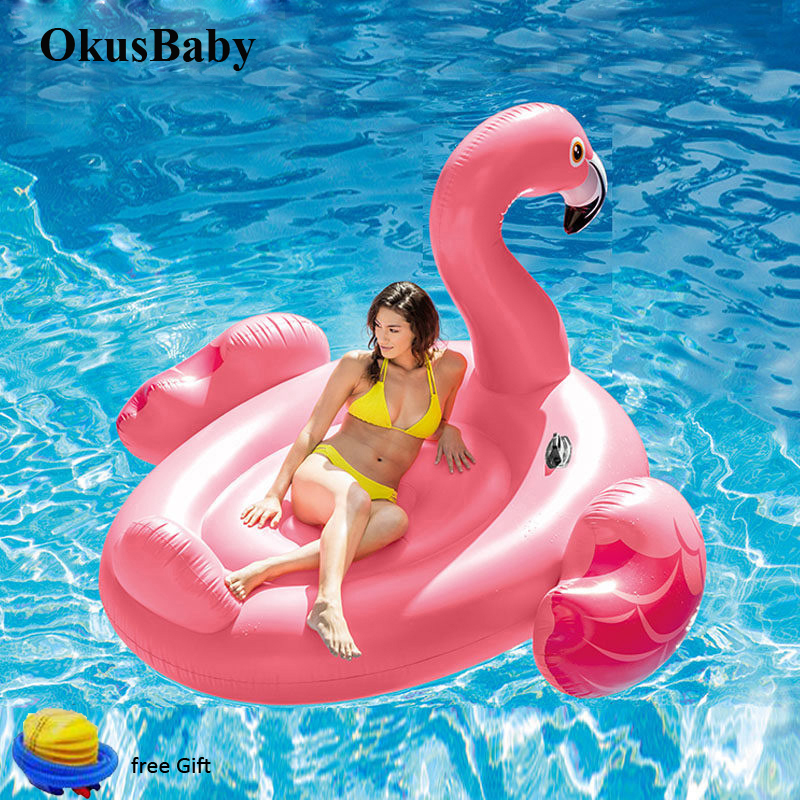 150cm Large Summer Swimming Pool Inflatable Giant Pink Flamingo Laps Floating Bath Water Toys Pool Fun Raft Water On Party Toys