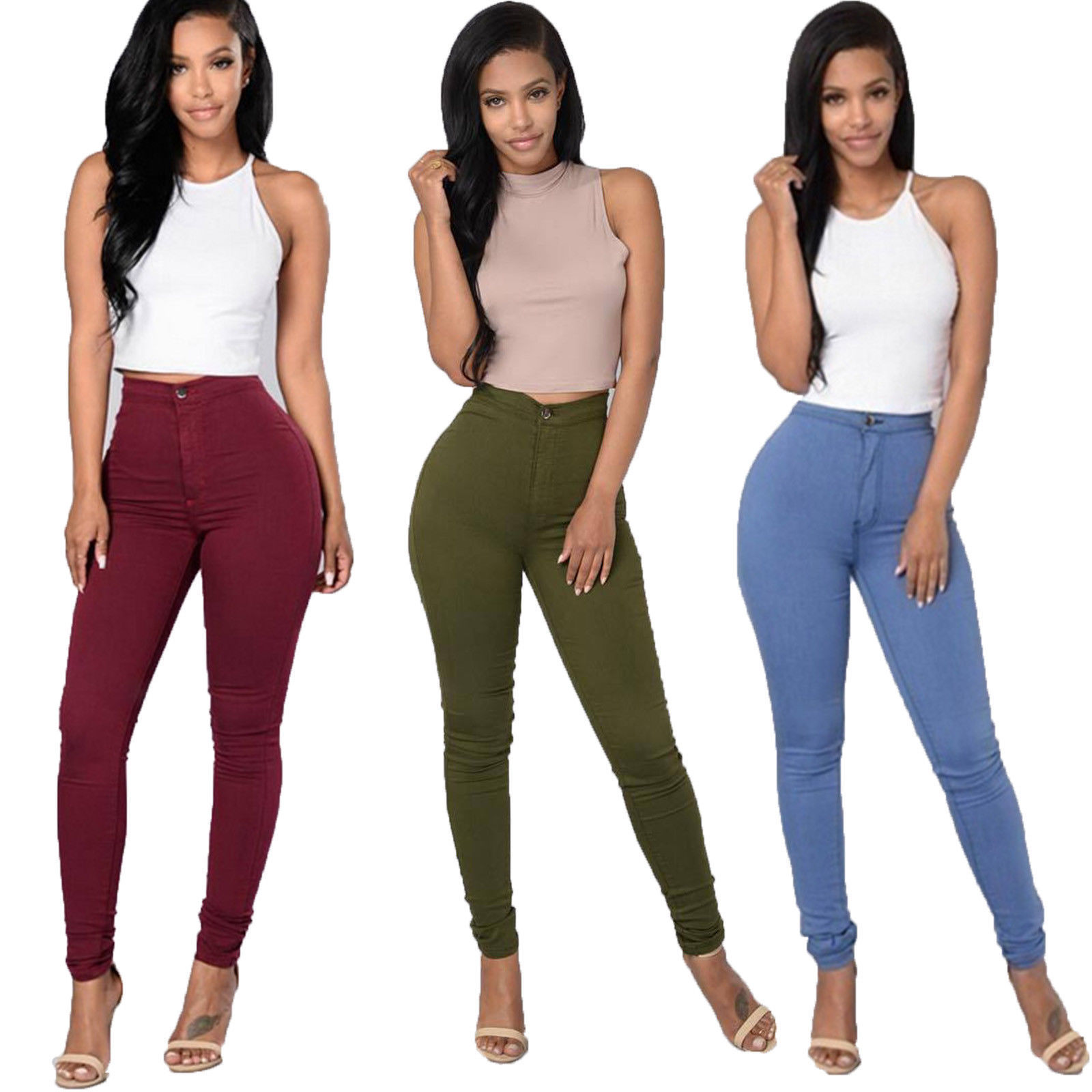 Pencil Jeans Women Stretch Casual Denim Skinny Pants Ladies Fashionable High Waist Tight Trousers 5 Color Hot Jeans Women Bottom ! Plus Size Women's Clothing & Accessories
