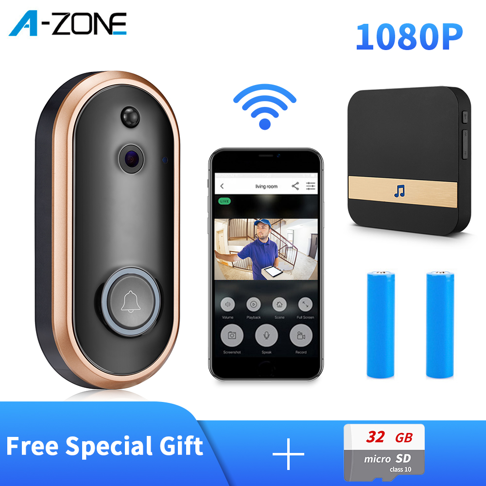 1080P Smart WIFI Doorbell Intercom Video Ring Door Bell With Camera Night Vision PIR Motion Detection Alert Wireless Security