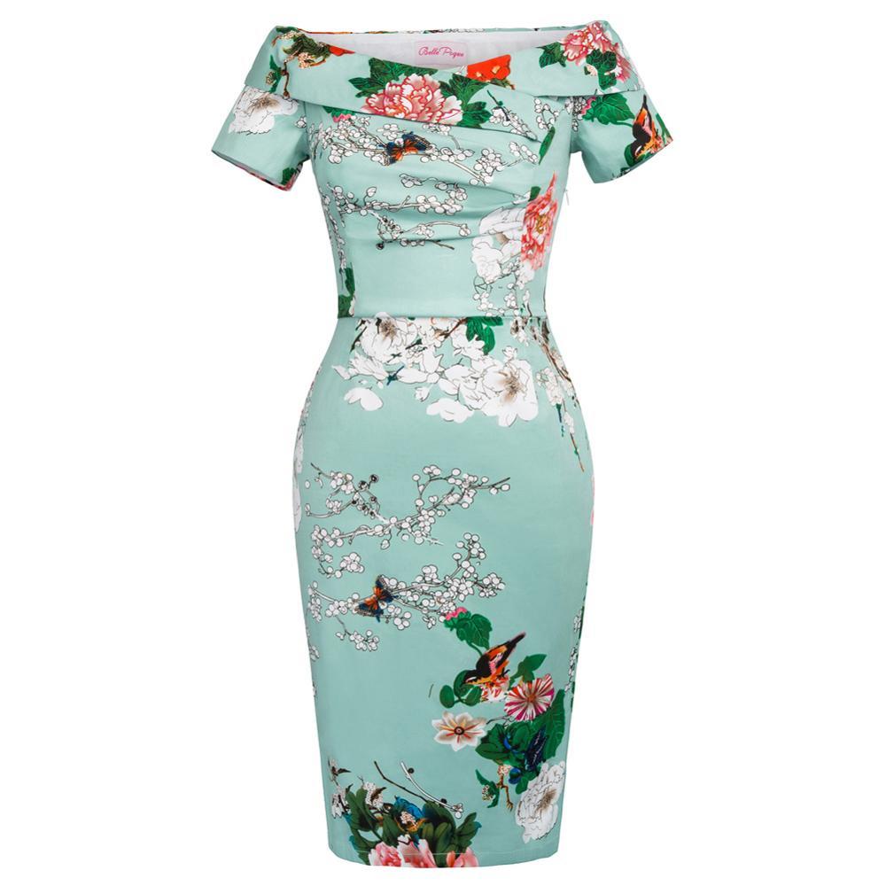 Women Sexy Off Shoulder Floral Midi Dress 2017 Womens Elegant Evening Bodycon Dress Ladies Slim Party Pencil Dresses Vestidos