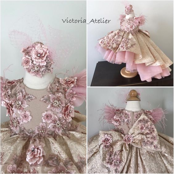 Luxury Pink Floral Lace Applique Pink Baby Girls Birthday Party Dresses Luxury Girls Pageant Dresses Ball Gowns