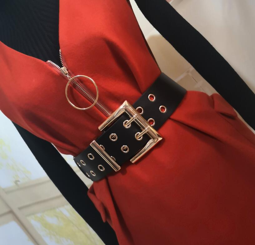 Women's Runway Fashion Pu Leather Cummerbunds Female Dress Corsets Waistband Belts Decoration Wide Belt R2576